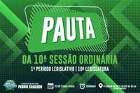 PAUTA DA 10ª SESSÃO ORDINÁRIA