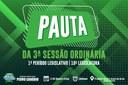 PAUTA DA 3ª SESSÃO ORDINÁRIA
