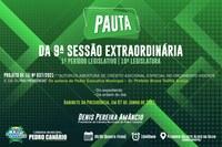 PAUTA DA 9ª SESSÃO EXTRAORDINÁRIA
